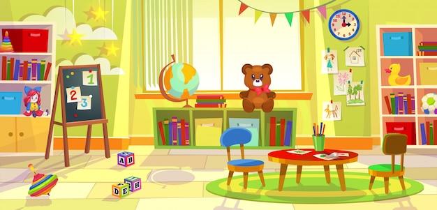 Sala de juegos para niños. kindergarten niño apartamento juego aula aprendizaje juguetes sala preescolar clase mesa sillas