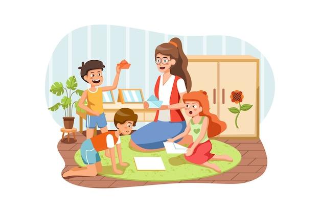 Sala de juegos para niños, niños con maestro en jardín de infantes.