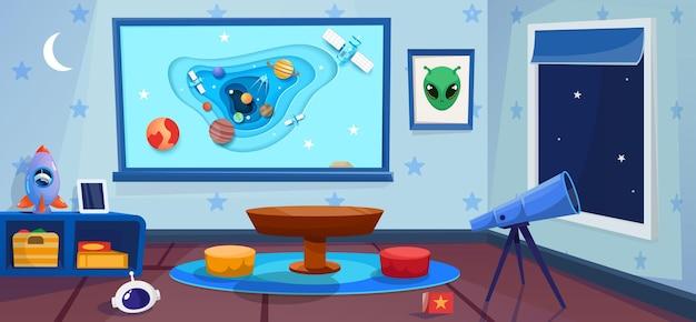 Sala de juegos con telescopio y ventana nocturna. jardín de infancia con interior de concepto de cosmos. tablero grande con espacio en arte estilo papel.