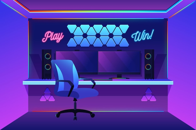 Sala de jugador orgánica plana ilustrada