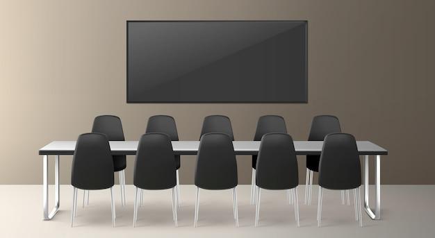 Sala de juntas para reuniones de empresa, conferencias y formación en la oficina de la empresa