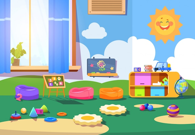 Sala de kindergarten. sala de juegos vacía con juguetes y muebles. interior de dibujos animados de sala de juegos para niños
