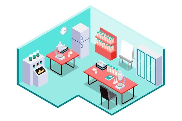 Sala de laboratorio científico isométrico.
