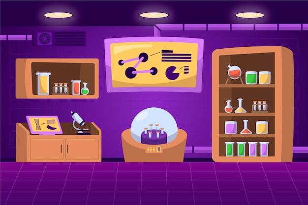 Sala de laboratorio de dibujos animados con elementos científicos