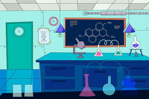 Sala de laboratorio de dibujos animados ilustrada