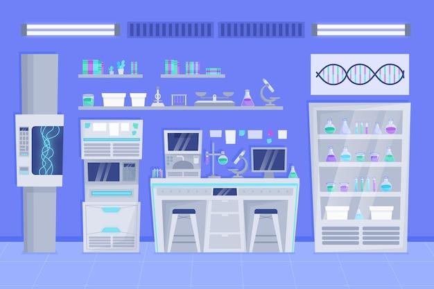 Sala de laboratorio de dibujos animados con matraces