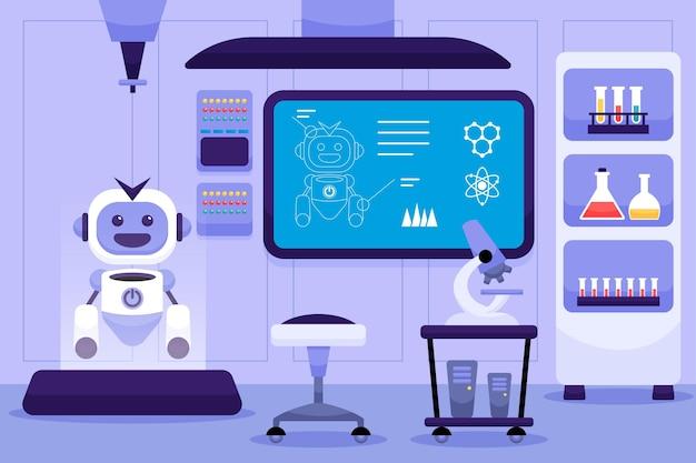Sala de laboratorio de dibujos animados con robot