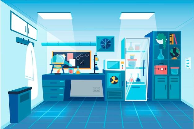 Sala de laboratorio de estilo de dibujos animados