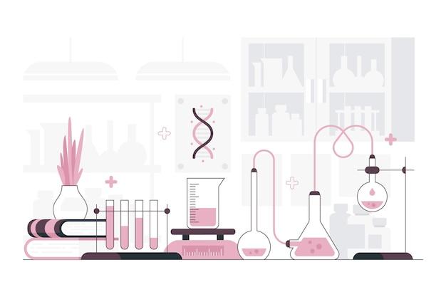 Sala de laboratorio de ilustración plana