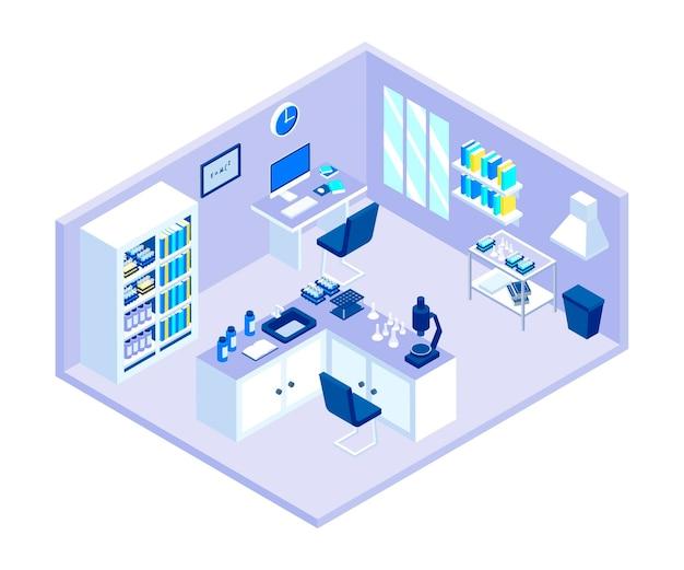 Sala de laboratorio isométrica con equipo.