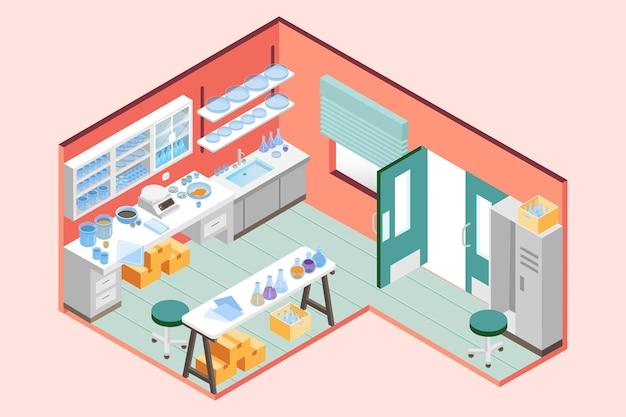 Sala de laboratorio isométrica