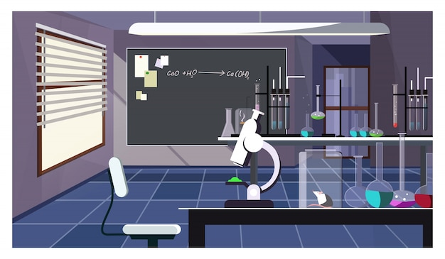 Sala de laboratorio oscuro con cristalería en la ilustración de la mesa