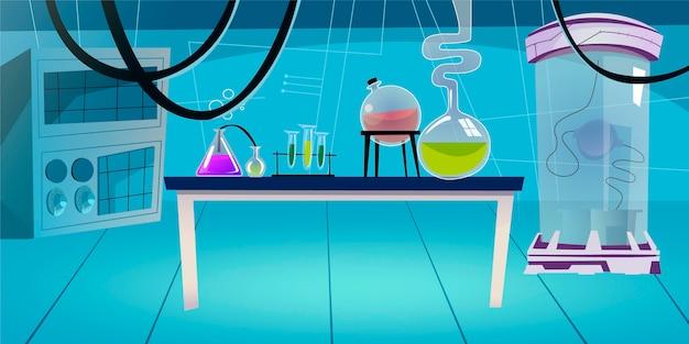 Sala de laboratorio vacía de dibujos animados