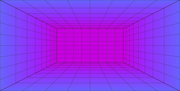 Sala de láser de perspectiva de cuadrícula 3d en estilo tecnológico. túnel de realidad virtual o agujero de gusano. fondo abstracto vaporwave