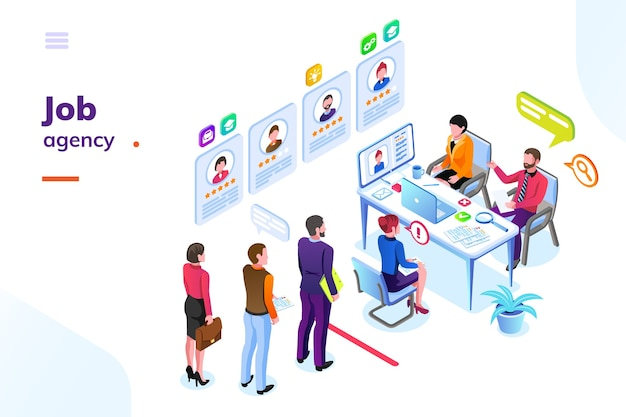 Sala de negocios de contratación o contratación con personas en cola