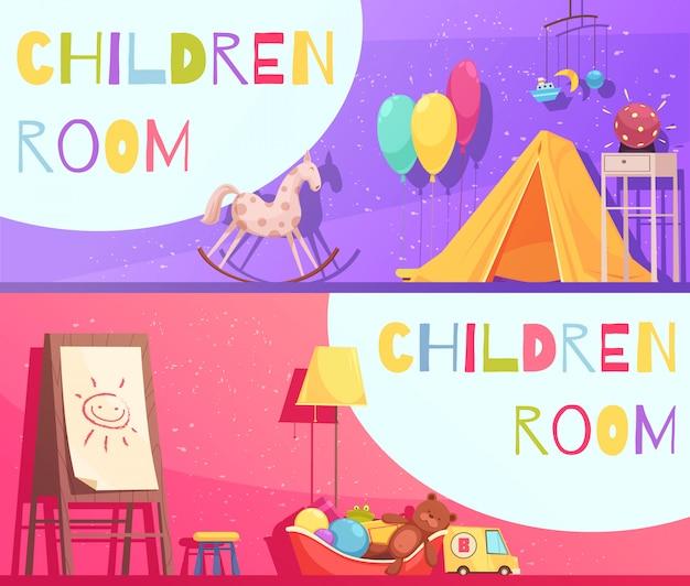 Sala de niños fondo rosa y violeta con ilustración de elementos interiores