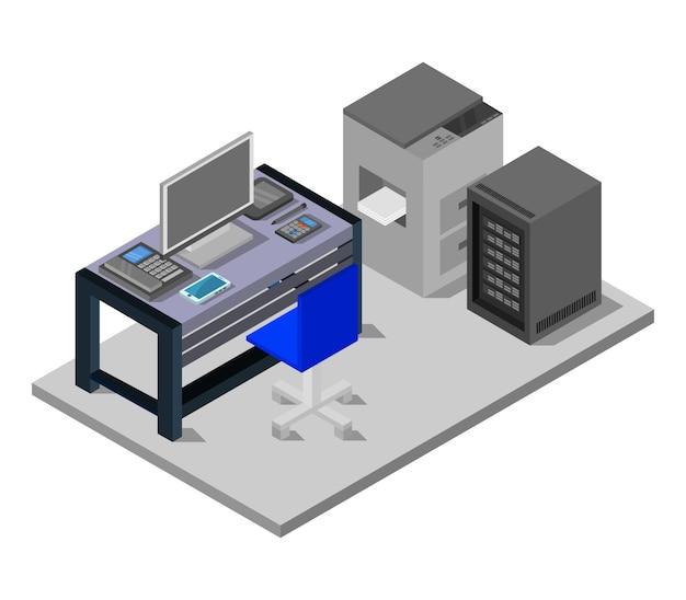 Sala de oficina isométrica