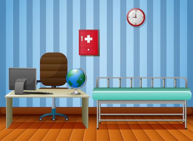 Sala de oficina de médicos vacía con muebles