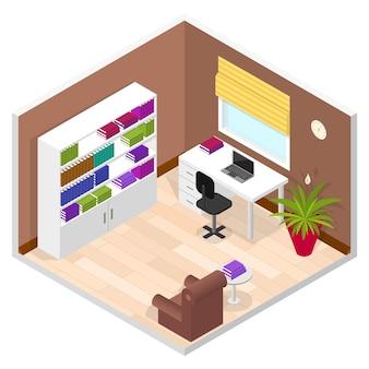 Sala de oficina en vista isométrica