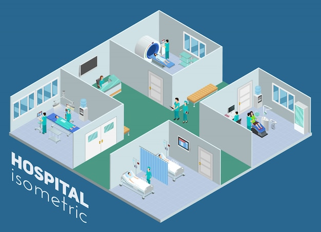 Sala de operaciones de exploración de mri isométrica médica hospital interior y cartel de sala de cuidados intensivos ilustración de vector abstracto