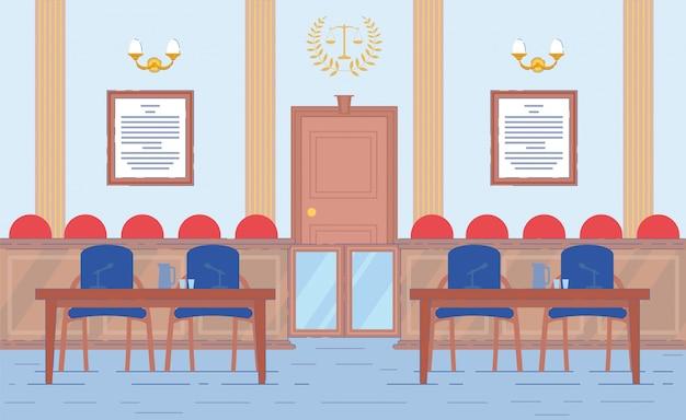 Sala del palacio de justicia con lugar de fiscal y abogado.