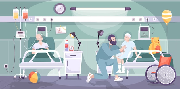 Sala de pediatría oncológica con enfermero que atiende a 2 niños después del tratamiento del cáncer composición isométrica horizontal