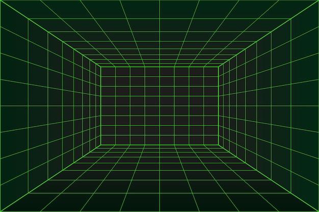 Sala de perspectiva de cuadrícula 3d en estilo de tecnología de matriz. túnel de realidad virtual o agujero de gusano. fondo abstracto del código de computadora binario