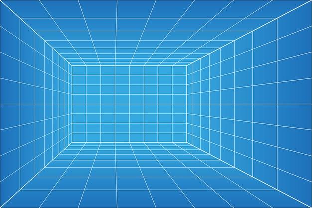 Sala de planos de perspectiva de cuadrícula. fondo de papel milimétrico de estructura metálica. modelo de tecnología digital cyber box. vector plantilla arquitectónica en blanco