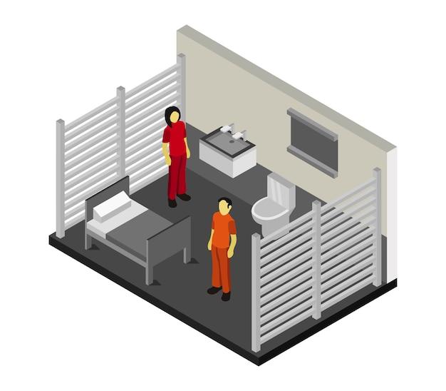 Sala de prisión isométrica