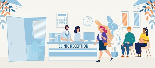 Sala de recepción clínica con médico y pacientes