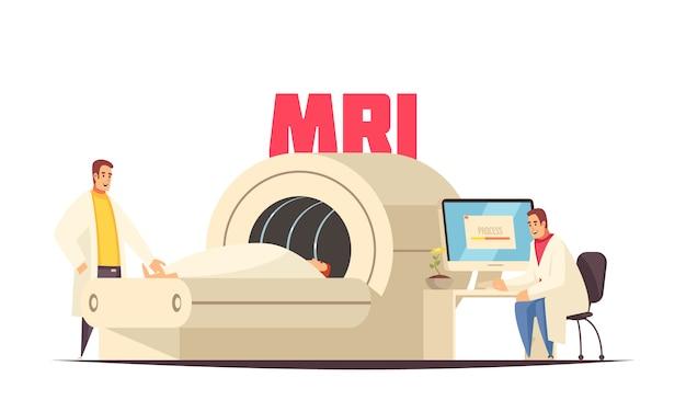 Sala de resonancia magnética de composición médica plana coloreada en el hospital para la ilustración de vector de tratamiento