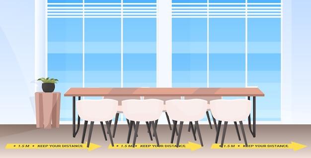 Sala de reuniones de mesa redonda con carteles de distanciamiento social pegatinas amarillas protección contra la epidemia de coronavirus