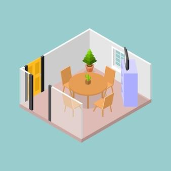 Una sala de reuniones con mesa y sillas