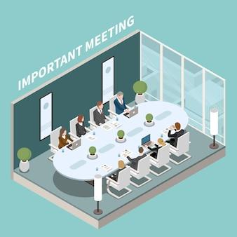 Sala de reuniones de la oficina de la empresa comercial para presentaciones importantes composición isométrica