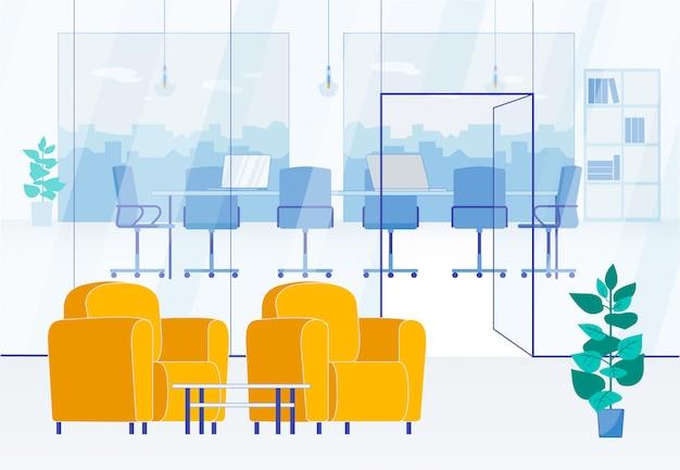 Sala de reuniones con paredes de vidrio y zona de espera