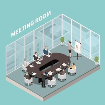 Sala de reuniones presentación de negocios vista interior isométrica de participantes en paredes de vidrio de altavoz de mesa ovalada