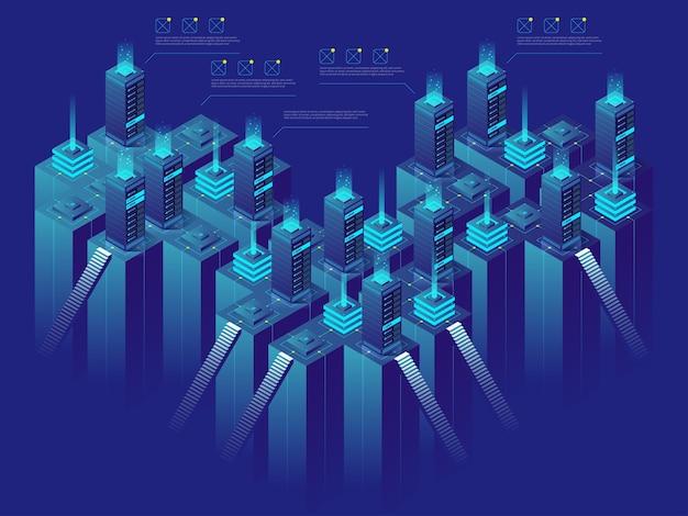 Sala de servidores, concepto, ilustración isométrica del centro de datos e intercambio de datos, almacenamiento en la nube