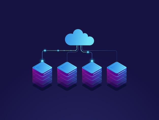 Sala de servidores, icono de almacenamiento en la nube, centro de datos y concepto de base de datos, proceso de intercambio de datos