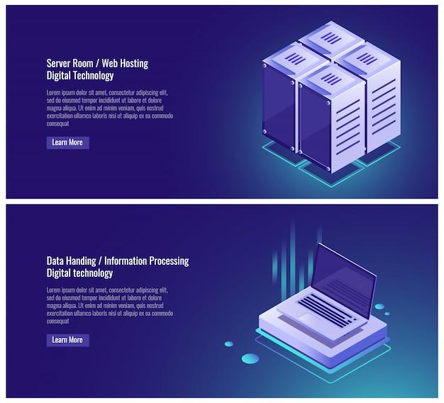 Sala de servidores isométrica, alojamiento web, almacenamiento de datos en la nube, entrega de datos