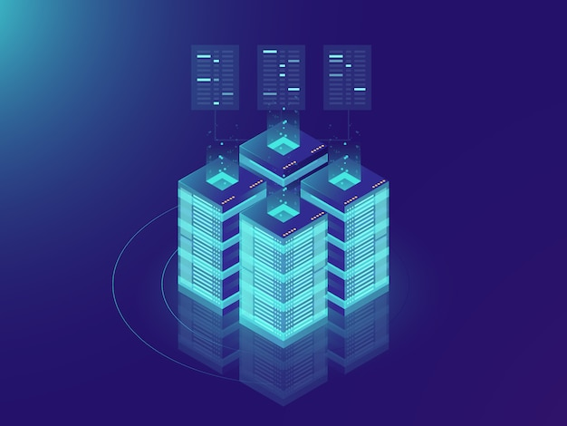 Sala de servidores isométrica y concepto de procesamiento de big data, centro de datos y el icono de base de datos