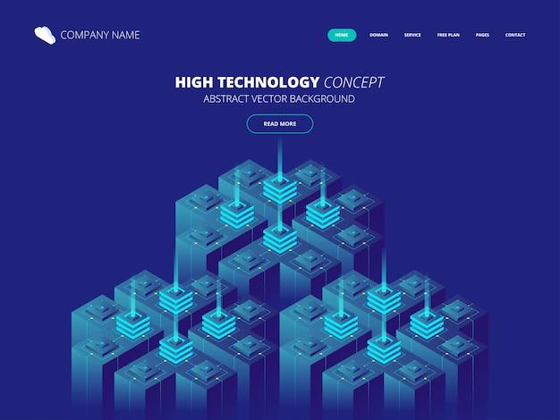Sala de servidores isométrica y concepto de procesamiento de datos grandes, centro de datos e icono de base de datos, tecnología de información digital