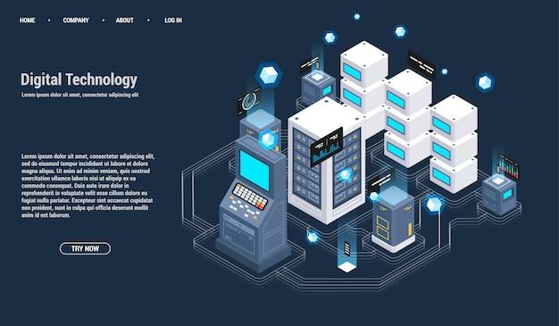 Sala de servidores isométrica y concepto de procesamiento de datos grandes, centro de datos e icono de base de datos