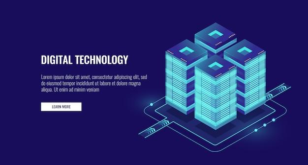 Sala de servidores isométrica, tecnología futurista de protección y procesamiento de datos.