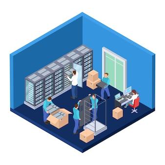 Sala de servidores isométrica.