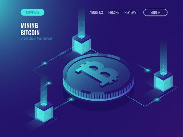Sala de servidores para minería bitcoin de moneda criptográfica, página web de tecnología informática