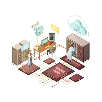Sala de servidores con personal y servicios de reparación y soporte de equipos en la nube.