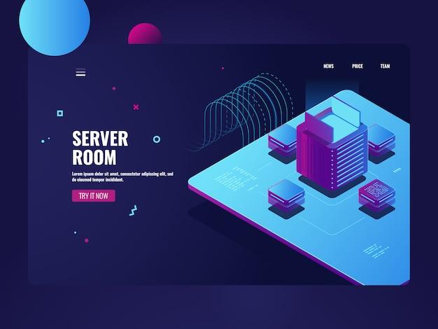 Sala de servidores, procesamiento de big data, proceso de minería de datos de criptomoneda, centro de datos