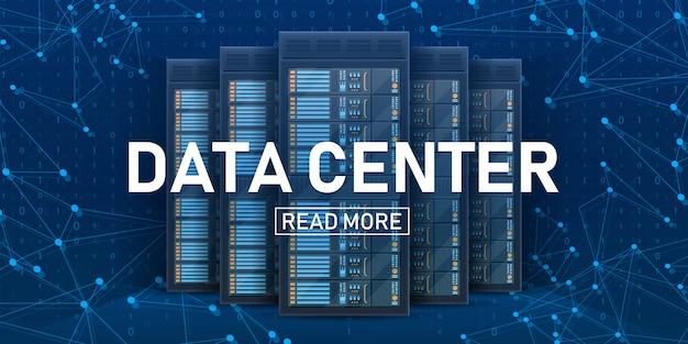 Sala de servidores en rack, banner de centro de banco de datos grandes