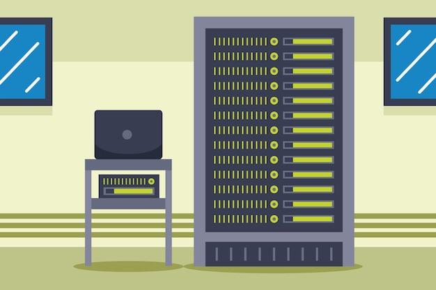 Sala de servidores de red en piso