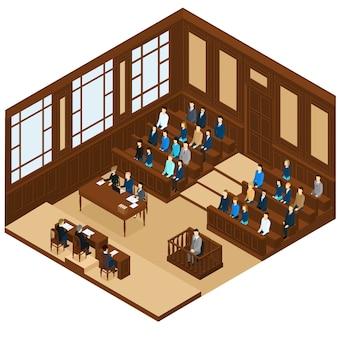 Sala de sesión judicial isométrica